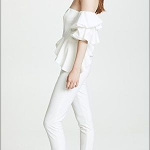 NWT Fame and Partners White Ruffle Jumpsuit